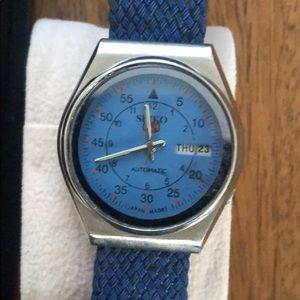 "Vintage ""Blue Dream"" custom Seiko 5, 21 jewels."